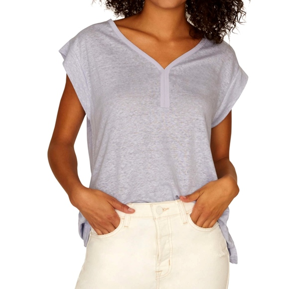 Sanctuary Tops - Sanctuary Blue Laura Contrast Neck Linen Top